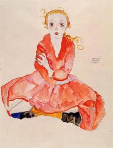 Egon-Schiele-Seated-Girl-Facing-Front